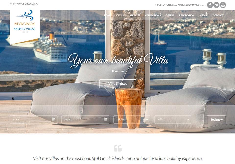 anemos villas mykonos, webdesign365